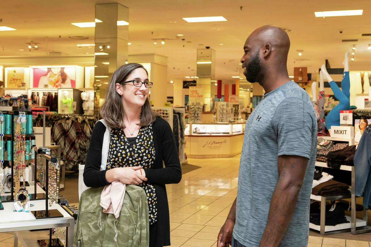 At the JCPenney Meyerland store on Monday, Aug. 26, Houston Texans Cornerback Jonathan Joseph chats with a teacher from T.H. Rogers School as she shops with her $200 gift card for a back-to-school shopping spree.