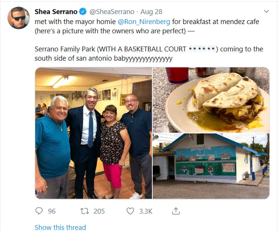 "Two-time New York Times bestselling author and San Antonio native Shea Serrano recently had breakfast with his ""homie"" Mayor Ron Nirenberg, teasing on social media the two met to discuss a park to be built on the city's South Side. Photo: Shea Serrano Tweet"