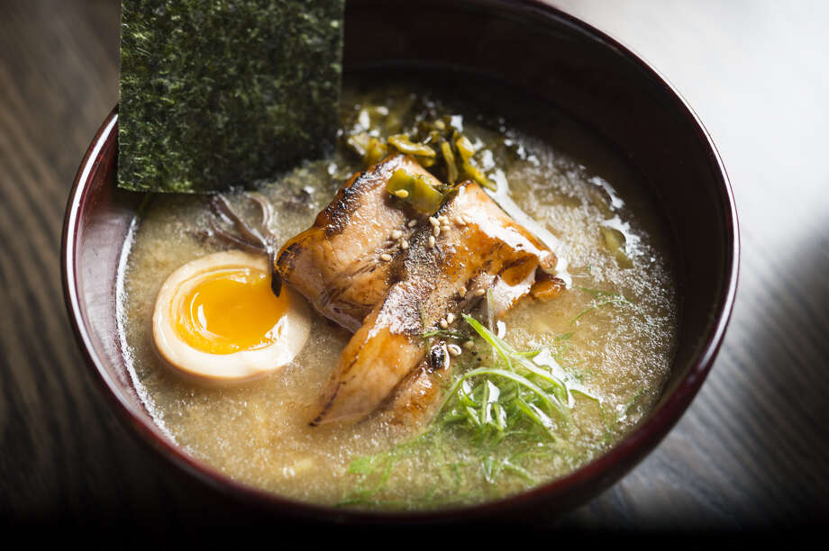 "Iron Chef Marimoto is bringing all means of the ""Tonkotsu Ramen"" to the menu, showered with pork chasu, aji-tama, takana, kikurage, toasted nori, garlic oil, soy tare, and a sprinkle of scallions. Photo: Courtesy Of Morimoto Management"