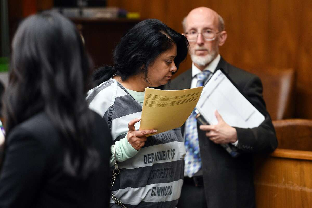 Reenu Saini leaves the courtroom after her arraignment at Santa Clara County Superior Court on August 29, 2019 in Palo Alto.