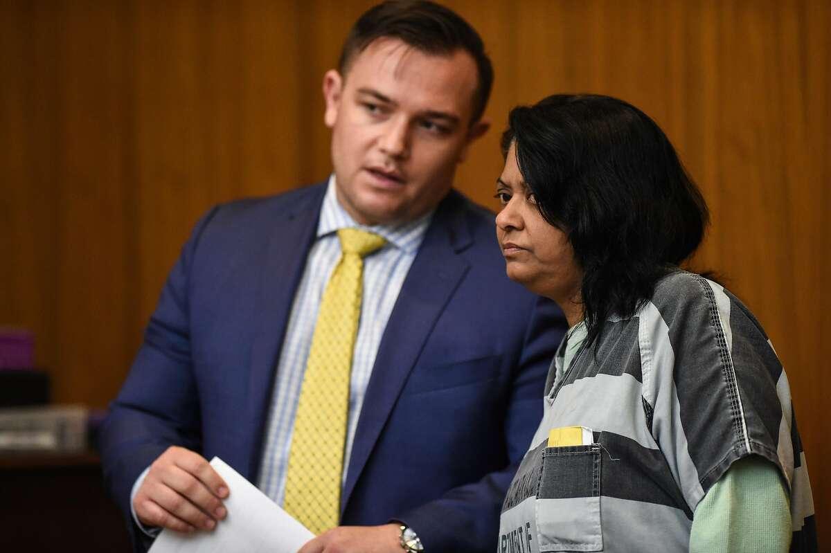 Reenu Saini and her defense attorney Sam Gordon during her arraignment at Santa Clara County Superior Court on August 29, 2019 in Palo Alto.