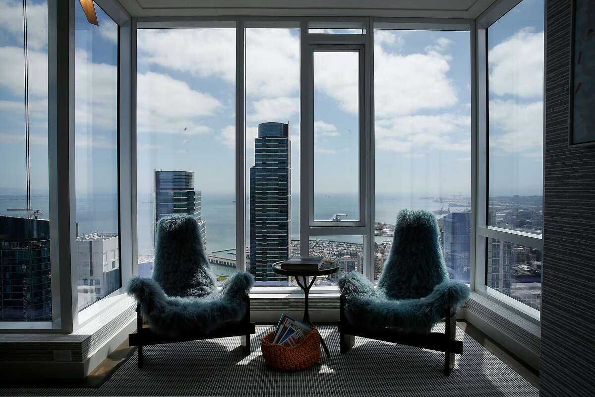 Views from a sitting area in the master bedroom in a 4,176 square foot penthouse on the 53rd floor of The Avery are seen on Thursday, August, 29, 2019 in San Francisco, CA.