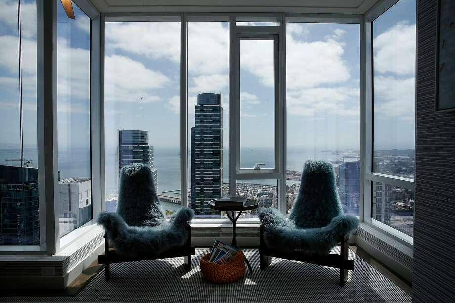 Views from a sitting area in the master bedroom on the 53rd floor of the Avery. There are his-and-hers master bedrooms in the unit. Photo: Lea Suzuki / The Chronicle
