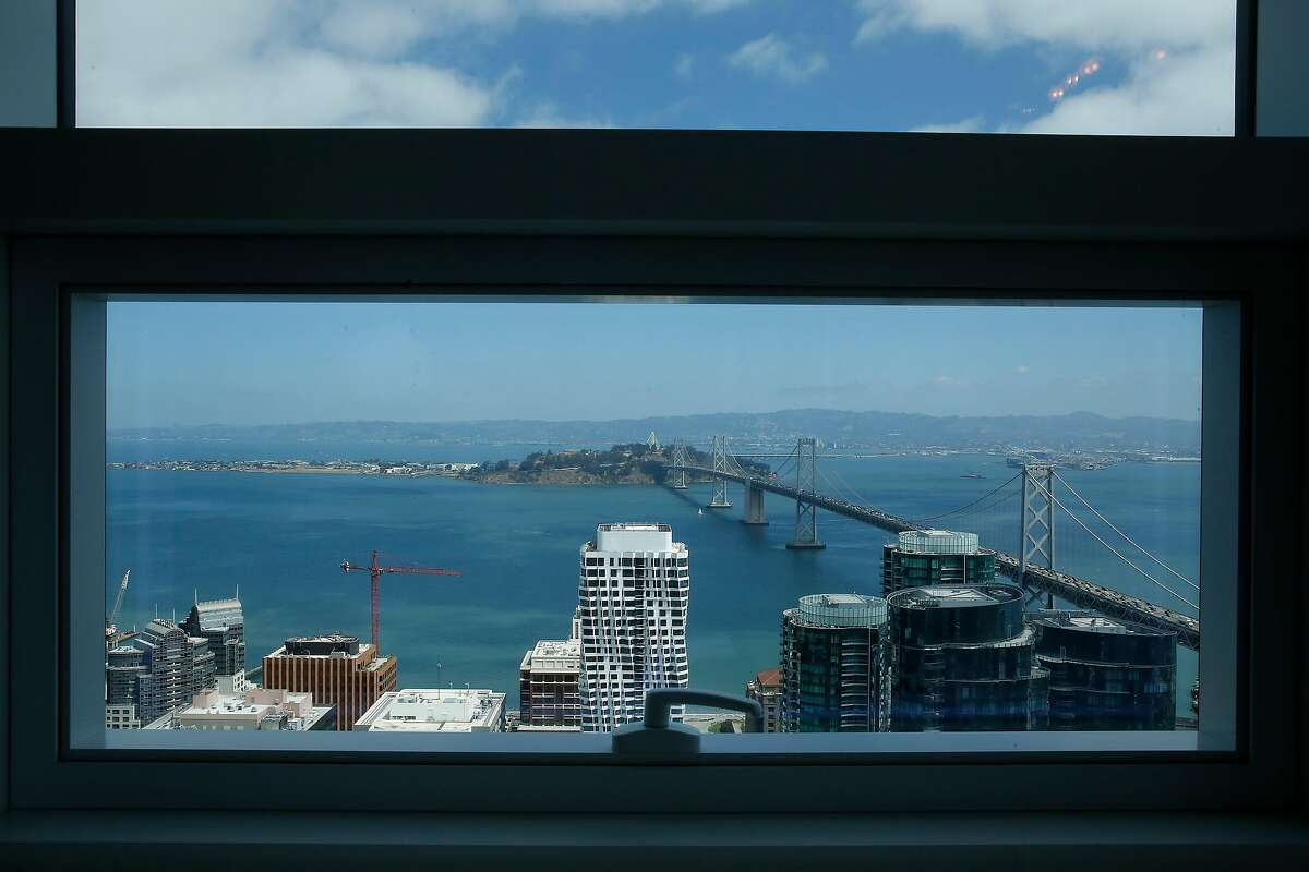 The view from a window in the living room of a 4,176 square foot penthouse on the 53rd floor of The Avery are seen on Thursday, August, 29, 2019 in San Francisco, CA.