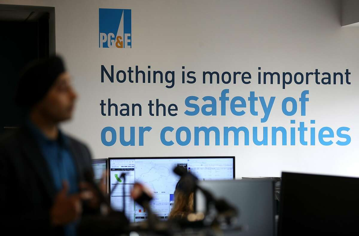 A message is displayed on a wall inside the Pacific Gas and Electric Wildfire Safety Operations Center in San Francisco, California.
