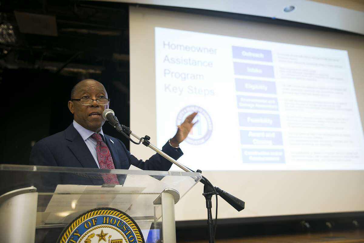 Mayor Sylvester Turner addresses the community during a town hall meeting about Hurricane Harvey recovery on Thursday, Aug. 29, 2019, in the Fifth Ward.