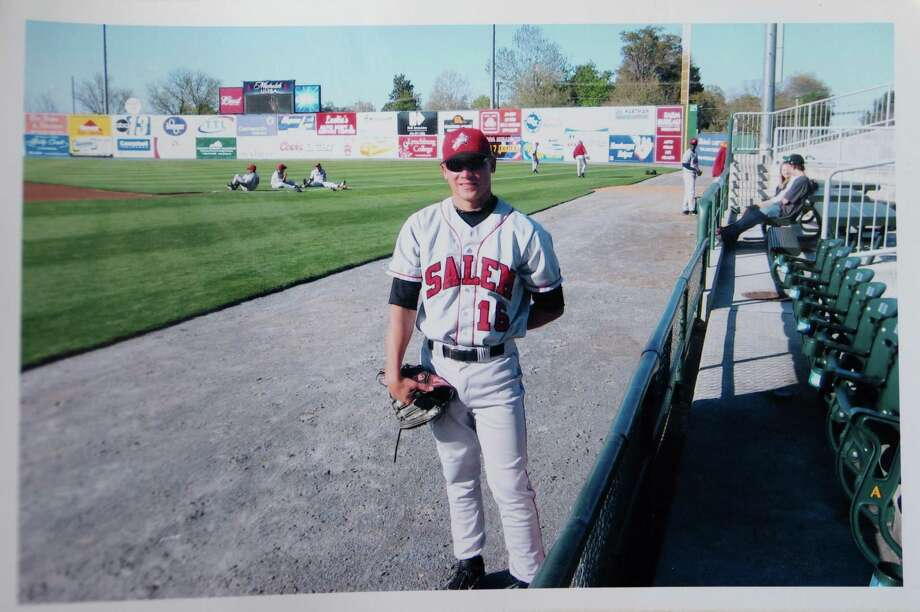 Litchfield lefty Chris Blazek near one of his favorite spots — the bullpen. Photo: Contributed Photo
