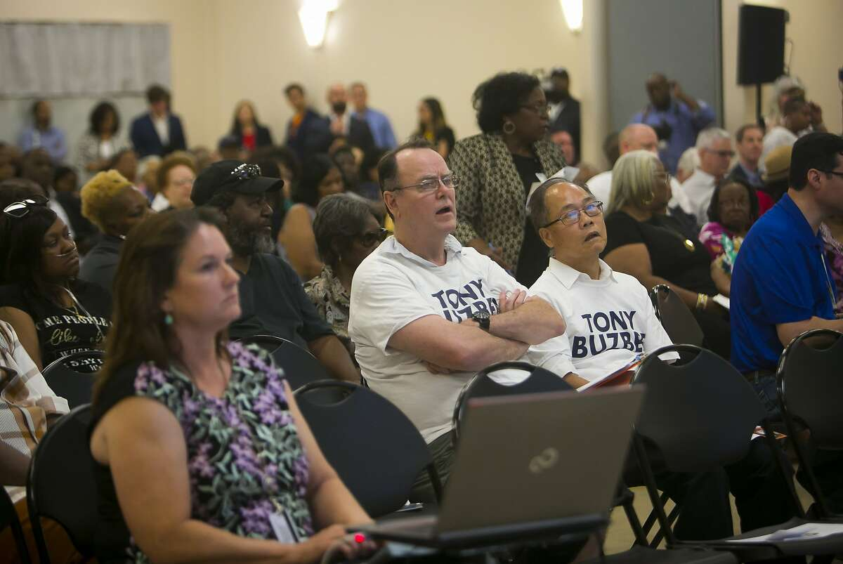 Tony Buzbee supporters sit towards the front of the audience during a town hall meeting about Hurricane Harvey Recovery on Thursday, Aug. 29, 2019, in the Fifth Ward.