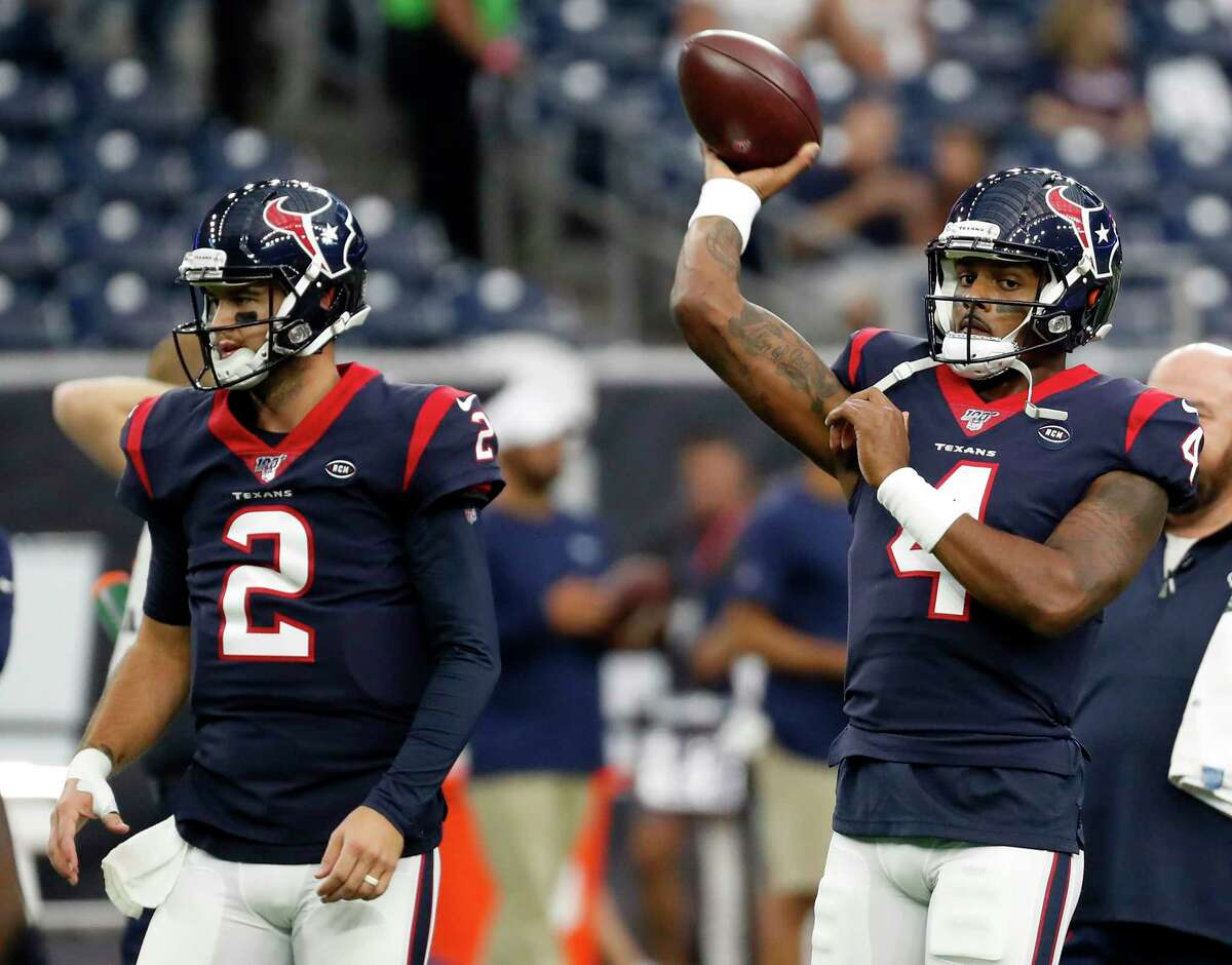 For the second straight year, Texans starting QB Deshaun Watson (right) will be backed up by veteran A.J. McCarron.