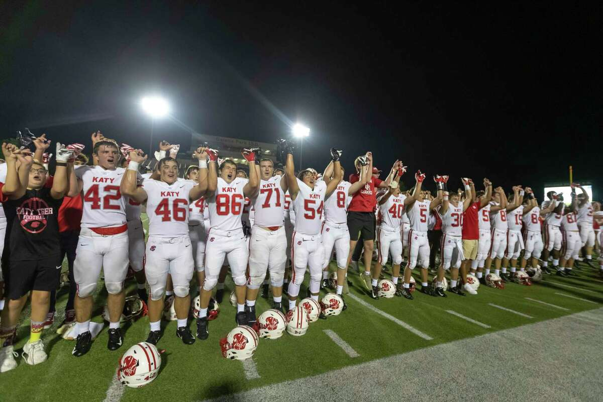 The Katy football team sings the school song after defeating North Shore 24-21 in a high school football game at Galena Park ISD Stadium on Thursday, Aug 29, 2019, in Houston.