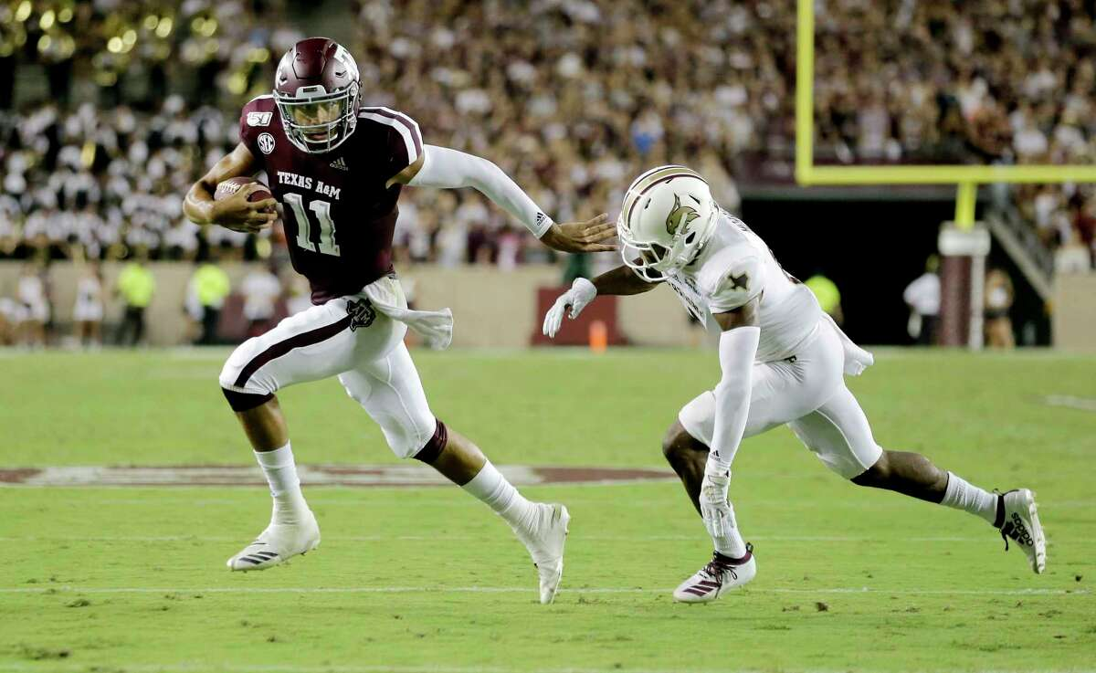 Texas A&M quarterback Kellen Mond didn't have the best protection at times Thursday against Texas State. That will have to change before the Aggies play Sept. 7 at No. 1 Clemson.