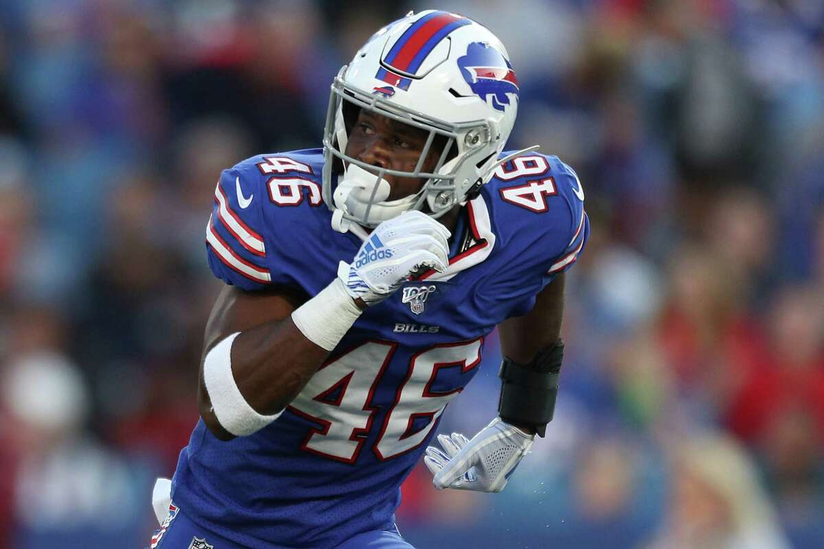 ORCHARD PARK, NEW YORK - AUGUST 29: Jaquan Johnson #46 of the Buffalo Bills runs during a preseason game against the Minnesota Vikings at New Era Field on August 29, 2019 in Orchard Park, New York. (Photo by Bryan M. Bennett/Getty Images)