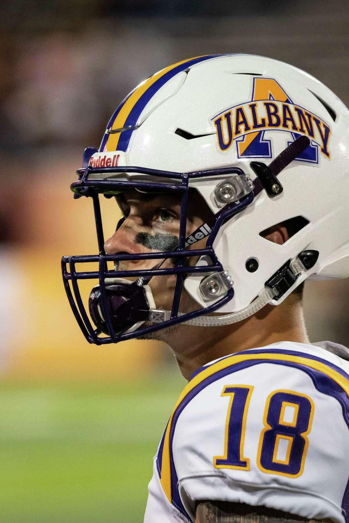 UAlbany quarterback Jeff Undercuffler, during the Danes' season opener against Central Michigan on Thursday, Aug. 29, 2019. (Isaac Ritchey / Special to the Times Union)