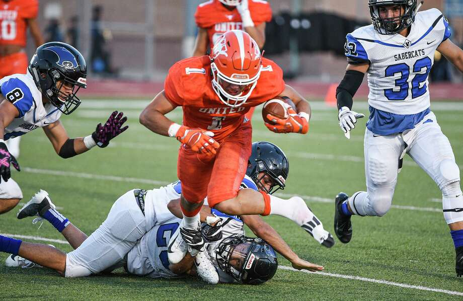 United's Tanner Sanchez totaled 199 receiving yards and four scores on eight catches as the Longhorns fell to Edinburg Vela Thursday. Photo: Danny Zaragoza /Laredo Morning Times