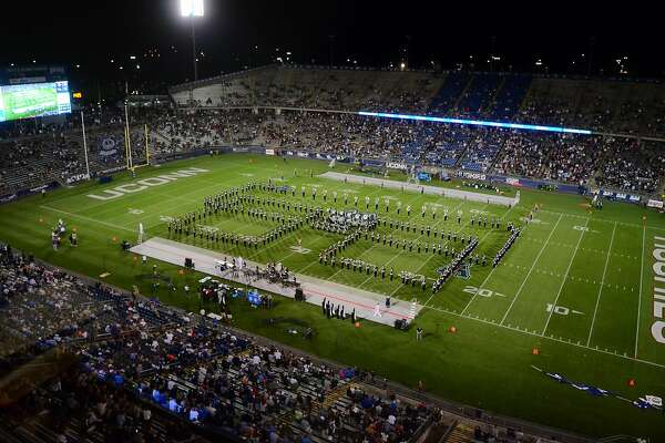 Opening day football action between UConn and Wagner at Rentschler Field in East Hartford, Conn., on Thursday August 29, 2019.
