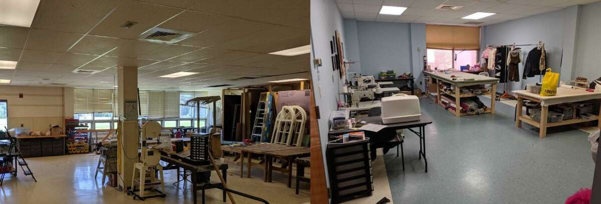 New larger classrooms are just down the hall from a professionally equipped scene and costume shop, which has allowed Education Director Gina Scarpa the opportunity to expand the technical theater classes to include set, prop and costume construction and design. The wig room is for teaching hair, wig and make-up design.