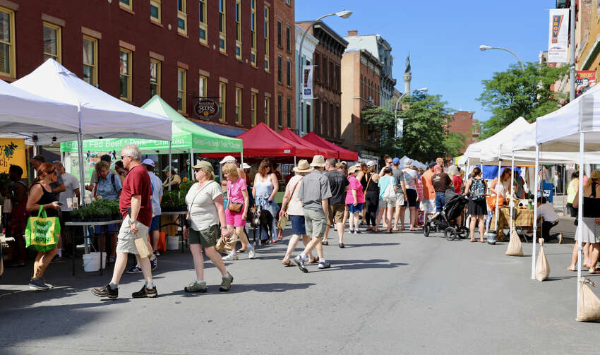 The Troy Waterfront Farmers Market is held in the downtown area from May through October. (Photo courtesy of Duncan Crary Communications)
