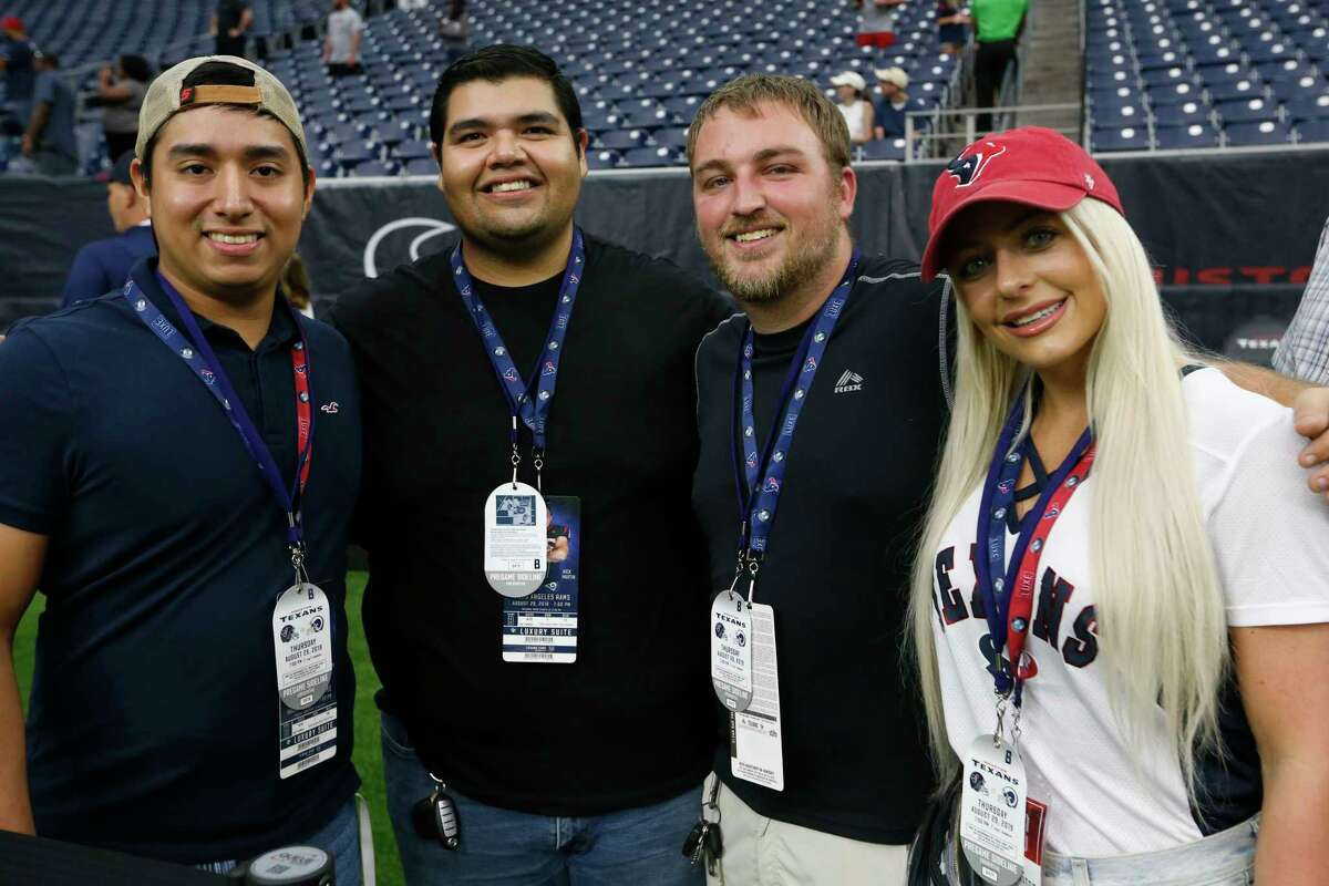 PHOTOS: Fans at Thursday night's Texans preseason game Houston Texans fans watch warm ups before an NFL preseason football game against the Los Angeles Rams at NRG Stadium on Thursday, Aug. 29, 2019, in Houston.