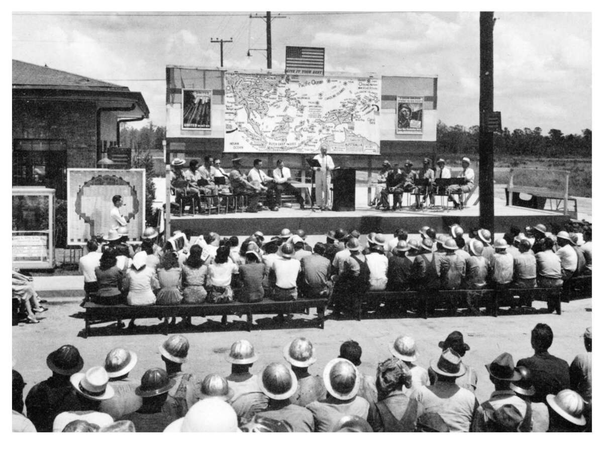 War bond rallies like this were common at the Shell Houston Refinery and Chemical Plant in Deer Park during World War II.