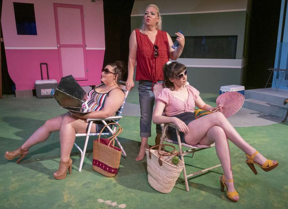 Friends Caroline Tapp as Lin, left, Maija Johnson as Betty and Sarah January as Pickles catch some rays outside their trailer in Midland Community Theater's production of Great American Trailer Park. 08/29/19  Tim Fischer/Reporter-Telegram Photo: Tim Fischer/Midland Reporter-Telegram
