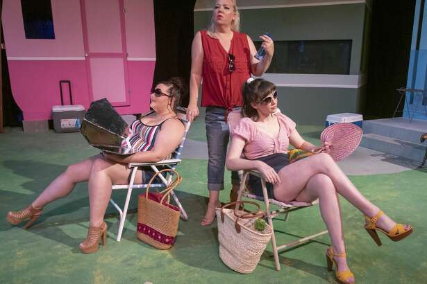 Friends Caroline Tapp as Lin, left, Maija Johnson as Betty and Sarah January as Pickles catch some rays outside their trailer in Midland Community Theater's production of Great American Trailer Park. 08/29/19 Tim Fischer/Reporter-Telegram