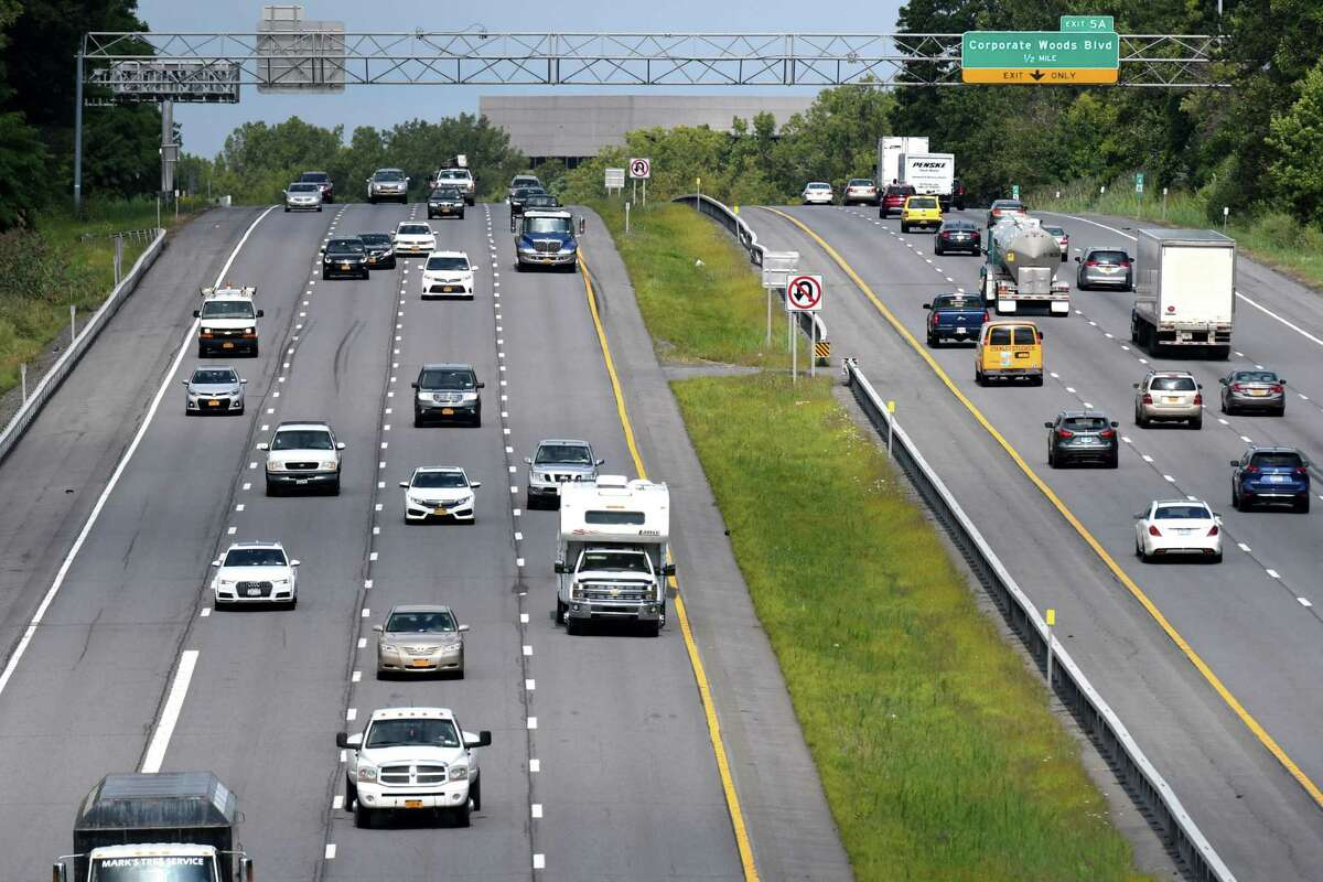 Traffic moves along I-90 under Northern Blvd. on Friday, Aug. 30, 2019, in Albany, N.Y. A proposed one-house state bill would restrict access to the left lane on highways so that it's only used for passing. (Will Waldron/Times Union)