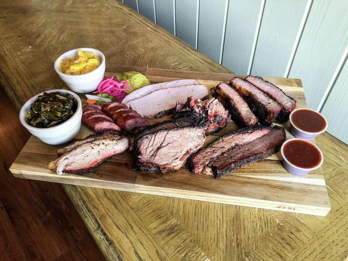 Barbecue spread at Buck's in Galveston