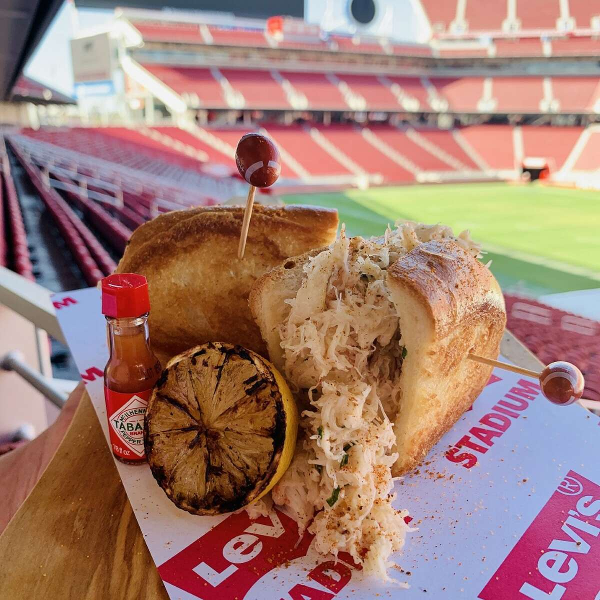 Click on the slideshow ahead to see the new food options at Levi's Stadium >>> Dungeness crab roll(by Levy Restaurants) One of the newest food items at Levi Stadium includes a Dungeness crab roll made with fresh Dungeness crab and chives on a LeBoulanger buttered spilt-top roll.