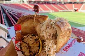 One of the newest food items at Levi Stadium includes a Dungeness crab roll made withfresh Dungeness crab, and chives on a LeBoulanger buttered spilt-top roll.