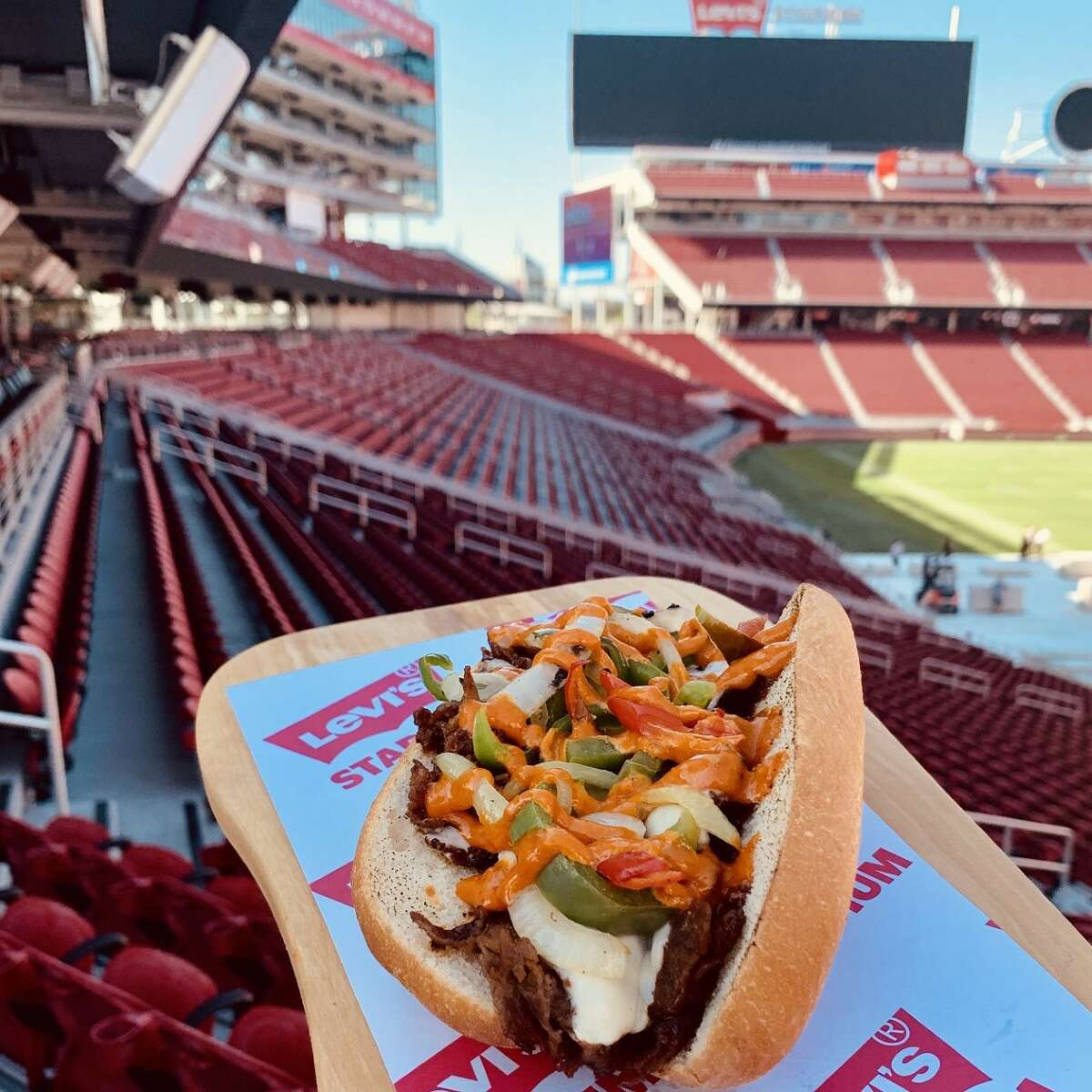 Bulgogi Cheese Steak (by Levy Restaurants) One of the newest food items at Levi Stadium includes a filling Bulgogi Cheese Steak that comes with sirloin, American cheese, sautéed peppers and onions, and gochujang aioli on a Le Boulanger hoagie roll.