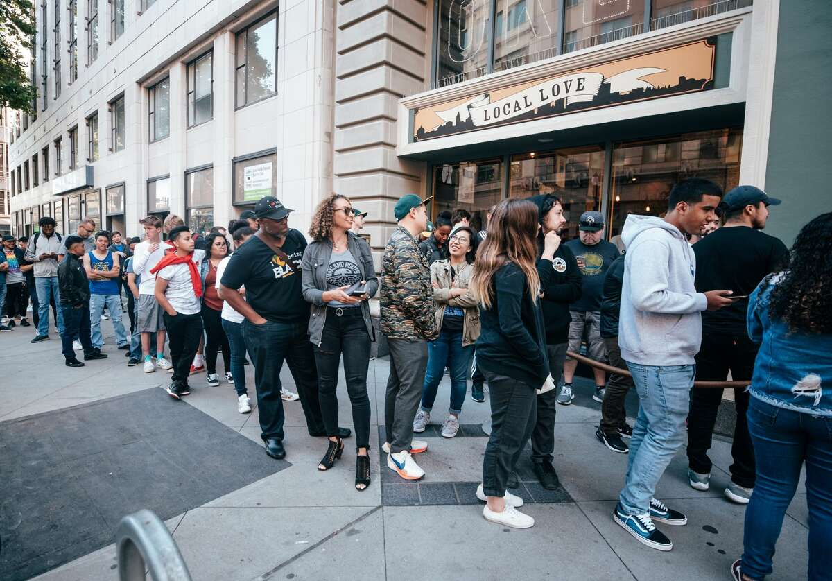 A long line waits to enter the Oaklandish downtown Oakland store on June 28, 2019 for the Oakland Roots jersey unveiling.