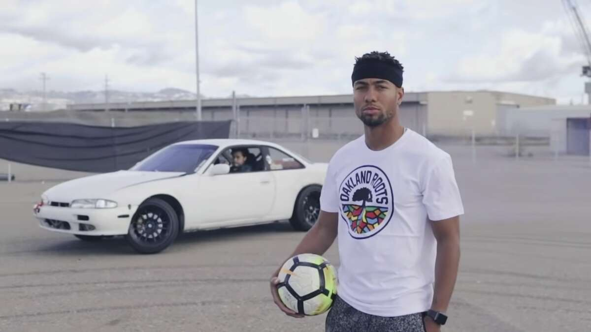 Oakland Roots first signing Devante Dubose appears in a hype video announcing his signing that featured a car drifting in the background.