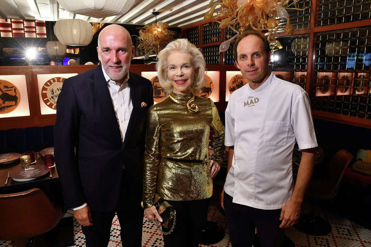 From left: Ignacio Torras, Lynn Wyatt and Chef Luis Roger at the Rothko Chapel restaurant takeover at MAD in the River Oaks District Thursday Aug. 29,2019.(Dave Rossman Photo)