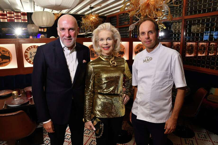 From left: Ignacio Torras, Lynn Wyatt and Chef Luis Roger at the Rothko Chapel restaurant takeover at MAD in the River Oaks District Thursday  Aug. 29,2019.(Dave Rossman Photo) Photo: Dave Rossman, Contributor / 2019 Dave Rossman