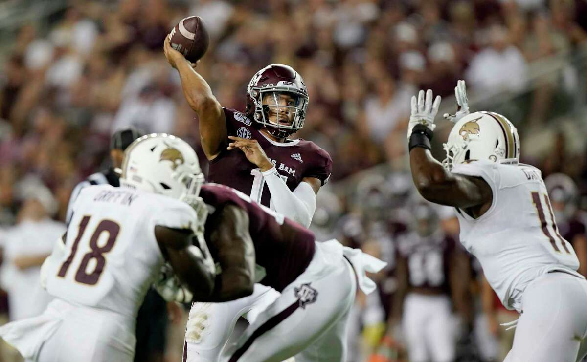 Texas A&M quarterback Kellen Mond's protection against Texas State was far from optimal at times, giving the Aggies something to address before they play at No. 1 Clemson next week.