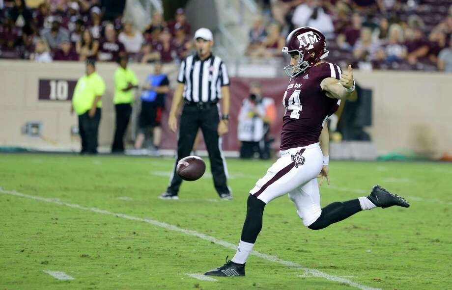 Texas A&M punter Braden Mann (34) punts the ball against Texas State during the second half of an NCAA college football game, Thursday, Aug. 29, 2019, in College Station, Texas. (AP Photo/Sam Craft) Photo: Sam Craft, Associated Press / Copyright 2019 The Associated Press. All rights reserved.
