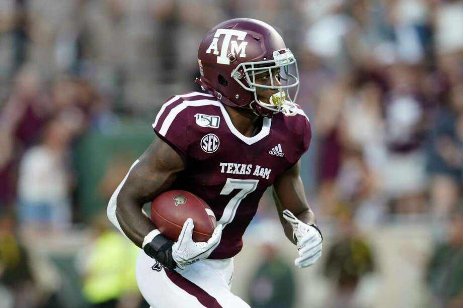 Texas A&M's Jashaun Corbin (7) runs against Texas State during the first half of an NCAA college football game in College Station, Texas, Thursday, Aug. 29, 2019. (AP Photo/Chuck Burton Photo: Chuck Burton, Associated Press / Copyright 2019 The Associated Press. All rights reserved