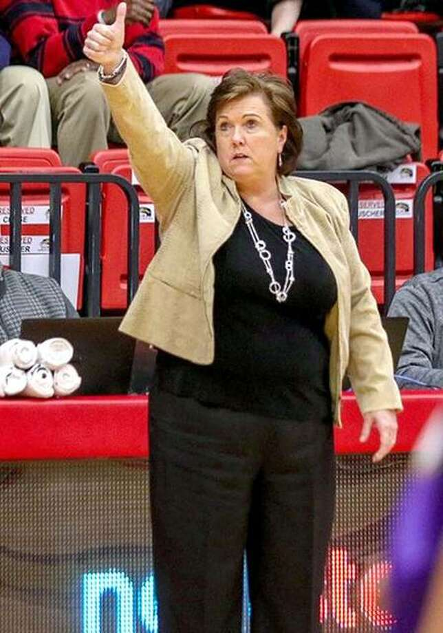 SIUE women's basketball coach gives a thumbs up to her team during a game last season. The Cougars' 2019-20 schedule has been released and Buscher calls the slate 'balanced.' Photo: SIUE Athletics