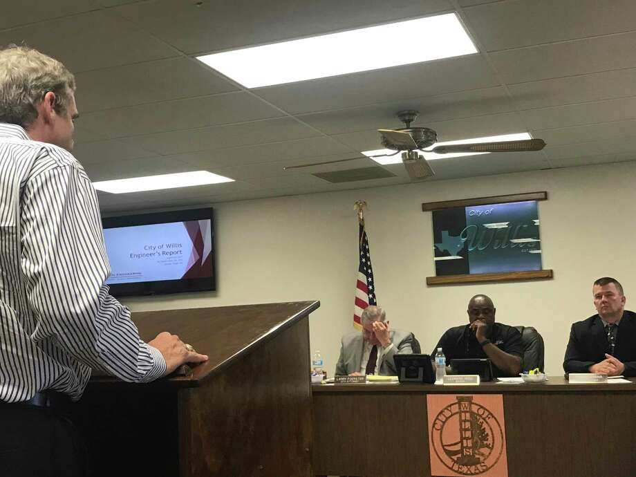 Bleyl Engineering CEO John Bleyl informs the Willis council that Lone Star Groundwater Conservation District's board is seeking the city's support in not using the 2010 desired future conditions as part of their management plan. Photo: Meagan Ellsworth / Meagan Ellsworth