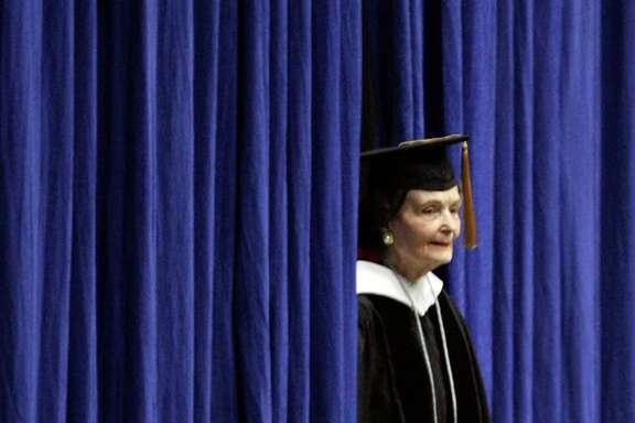 Former San Antonio Mayor Lila Cockrell takes the stage May 10, 2013, at the commencement for St. Philip's College at Freeman Coliseum. Cockrell was the speaker. She died Thursday, Aug. 29, 2019.