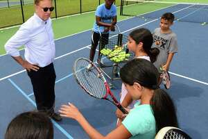 "Connecticut Governor Ned Lamont embarks on his ""Day in the Life"" tour of Roodner Court Housing Complex, the Grassroots Tennis facility and other areas of the city Wednesday, August 7, 2019, in Norwalk, Conn."