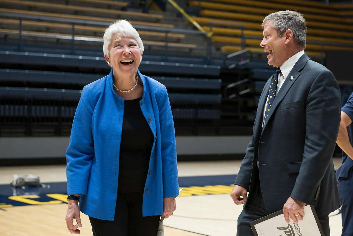 Chancellor Carol Christ with Jim Knowlton, Director of Athletics for UC Berkeley, before a student athlete welcome event for new and returning athletes, Berkeley, Calif., on August 27, 2019.