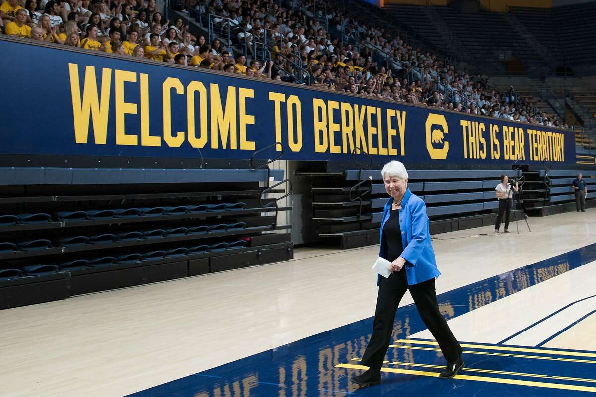 Chancellor Carol Christ at a UC Berkeley student athlete welcome event for new and returning athletes, Berkeley, Calif., on August 27, 2019.