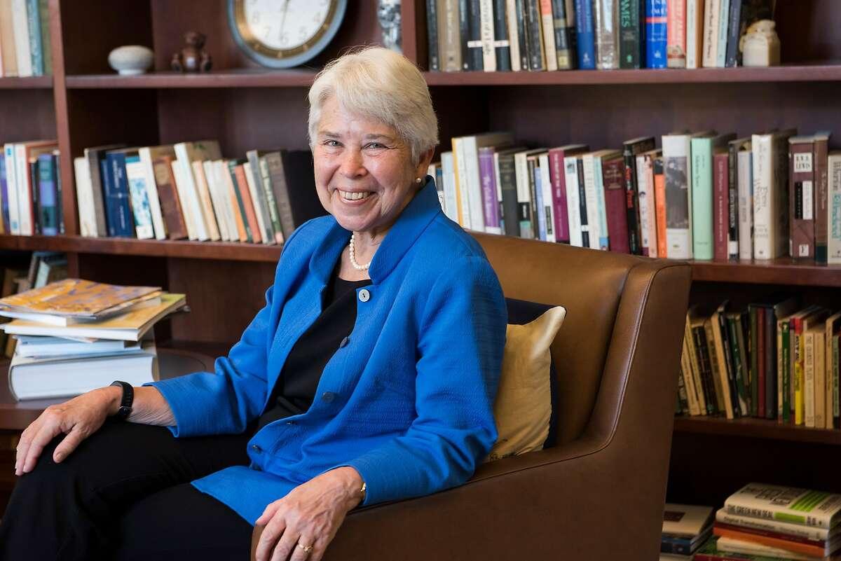 UC Berkeley Chancellor Carol Christ poses in Berkeley, Calif., on August 27, 2019.