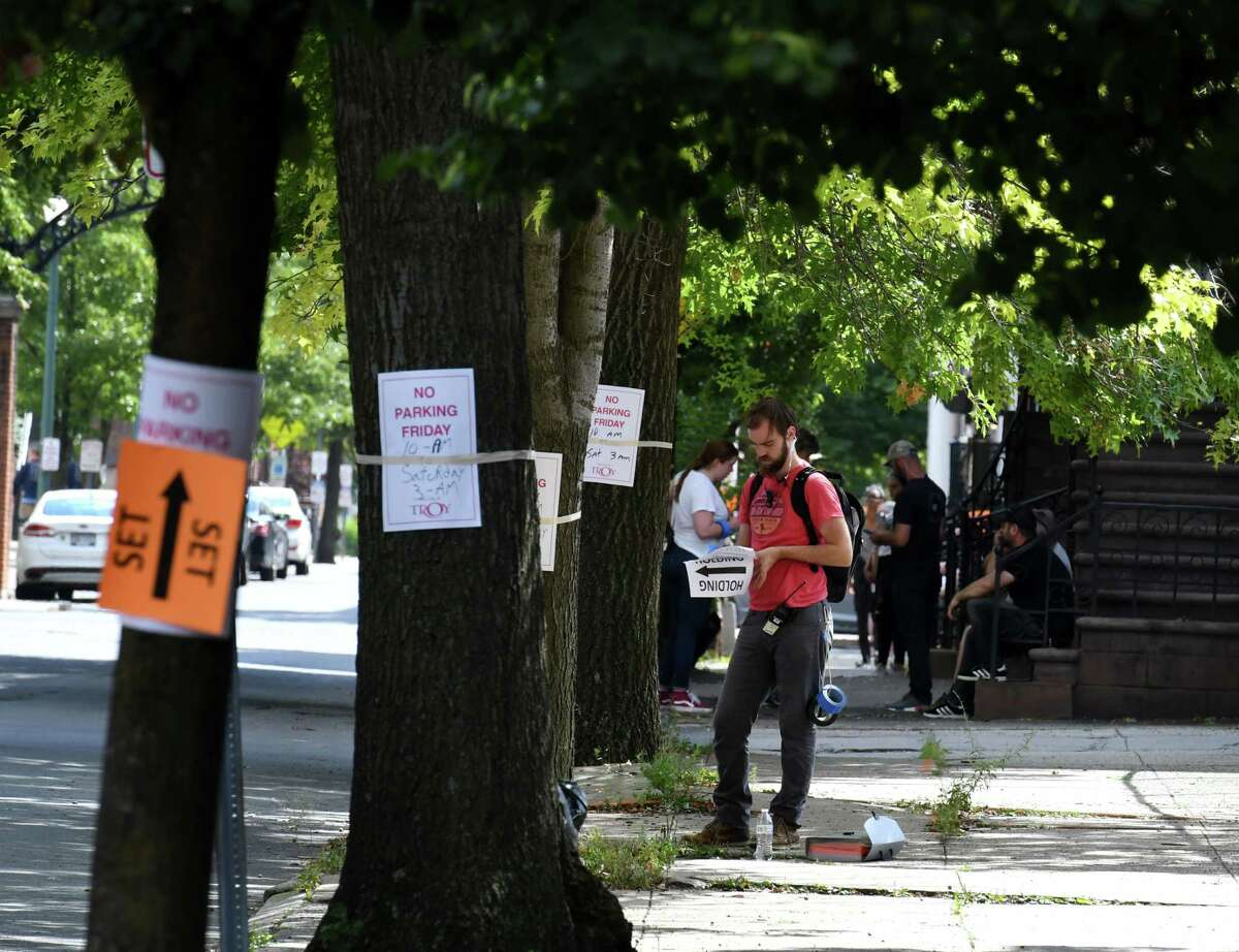 """""""Silent Retreat"""" (2019): Crew members prepare for the shoot of 'Silent Retreat,' a romantic comedy directed by Todd Strauss-Schulson on Friday, Aug. 30, 2019, on First Street in Troy, N.Y. (Will Waldron/Times Union)"""