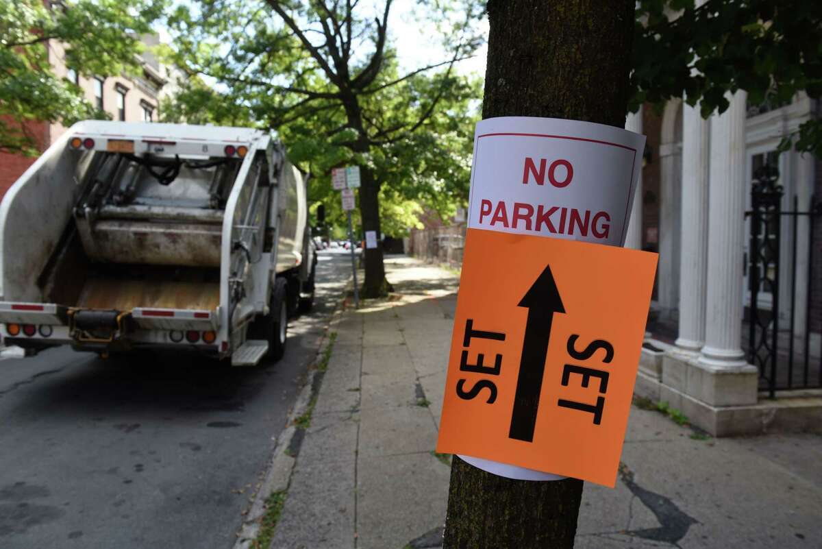 First Street is prepare for the shoot of 'Silent Retreat,' a romantic comedy directed by Todd Strauss-Schulson on Friday, Aug. 30, 2019, in Troy, N.Y. (Will Waldron/Times Union)