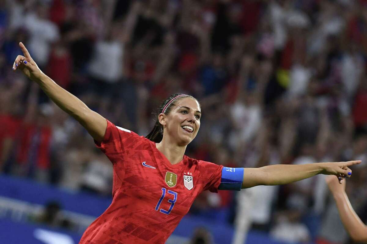 United States' forward Alex Morgan celebrates after scoring a goal during the France 2019 Women's World Cup semi-final football match between England and USA, on July 2, 2019, at the Lyon Satdium in Decines-Charpieu, central-eastern France.