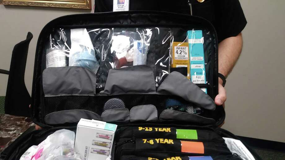 The Handtevy kit has pouches of equipment divided by age group, allowing EMS professionals to access the correct tools faster. The bag also comes with backpack straps for mobility. Photo: Chevall Pryce