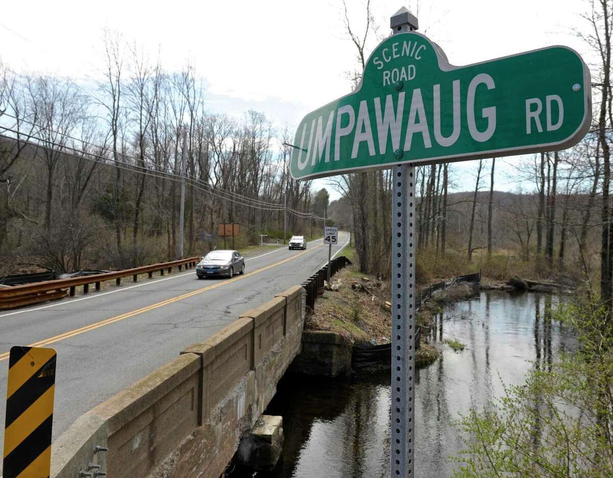 File photo of Umpawaug Road sign from Wednesday, April 6, 2016, in Redding, Conn.