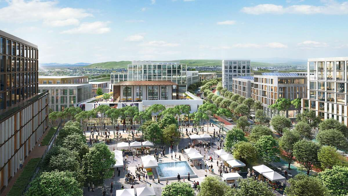 """A rendering of the conceptual """"transit plaza"""" proposed near the North Concord BART station as part of a larger transformation at the former Concord Naval Weapons. Lennar and FivePoint were selected in 2016 by Concord to take on the redevelopment of the 2,300-acre site."""